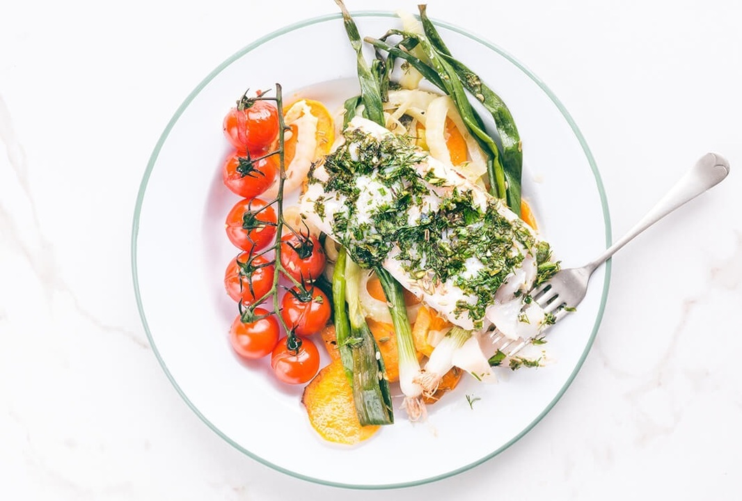 Herby Roasted Hake Vine Tomatoes Fennel